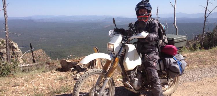 Hilary on motorcycle in Arizona